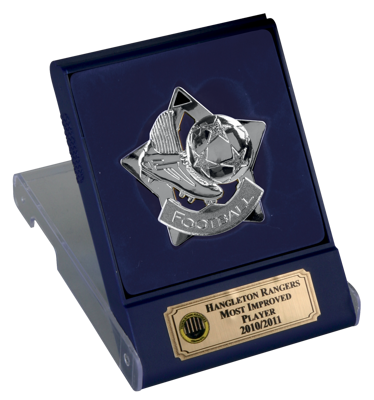 Silver Football Star Medal In Flip Top Box