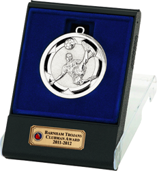Silver Volley Football Medal In Flip Top Box